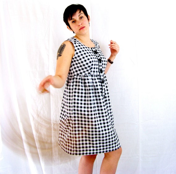 Black and white gingham dress with empire waist for women