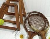 Wooden Tennis Equipment Ensemble - Vintage Sports 5 Piece Set - Repurpose Gameroom Decor