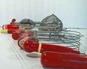 Reserved for Sheila Heath - Red Wooden Handled Utensils Collection - Vintage 10 Piece Set - Shabby Chic Stainless Steel