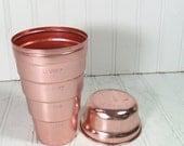 Pink Aluminum Cocktail Shaker- Vintage 2 Piece Metal Drink Mixer - Mid Century Cocktail Generation Bar Decor
