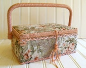 Medium Sewing Basket - Vintage Box with Woven Trim - Cushioned Tapestry Fabric Exterior