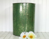Green and Gold Foil Metal Waste Can - Vintage Flashy Trashy Catch All Bin - Early DecoWare Trash Basket