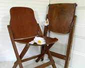 Early Wooden Folding Chairs Set of 2 - Vintage American Seating Company - Rustic Primitive Portable Pair of Seats