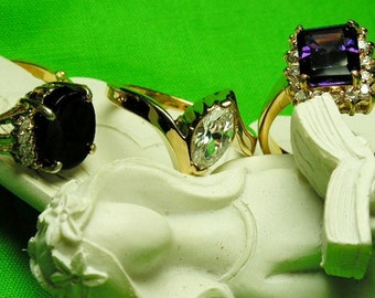 Lind Fashion Rings Collection of 3, Vintage Costume Womens Size 8 Rings Trio Set Marked Lind - Simulated Faux Amethyst, Diamond & Onyx Looks