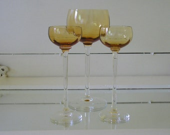 Antique Amber Crystal Stemware Set of 3 - Vintage Handblown Glass Goblets Collection - Matching Wine Glass & 2 Cordial Crystal Stem Glasses
