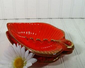 Set of 2 Groovy Mid Century Orange Ceramic Leaves Ashtrays - Vintage California Originals Pottery Pieces - Mad Men Era Coffee Table Decor