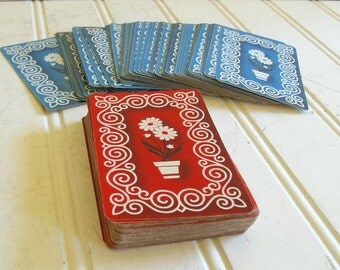 Vintage Russell New York Playing Cards Set of 2 Decks - Retro Gladstone Funky Red White & Blue Floral - Upcycling Repurposing Scrap Booking
