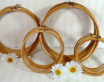 2 Sets of Wooden Round Embroidery 6 Inch Hoops - Vintage Sets of 2 Cross Stitch Crafting 6 Inch Wood Hoops - Vintage Sewing Essential Frames