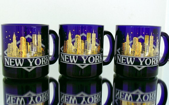 New York City Souvenir Stunning Coffee Mug - Vintage Heavy Cobalt Blue Glass with Handle - Retro Skyline Painted in Gold Leaf - 2 Available