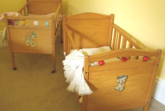 Large Wooden Crib Vintage Doll Bed Thayer Tops For Tots