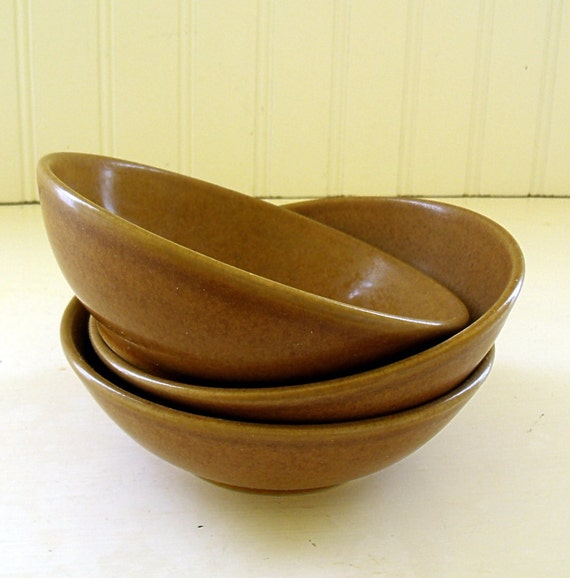 Langley Honey Brown Bowls - Vintage Stoneware - Made in England - Set of 3