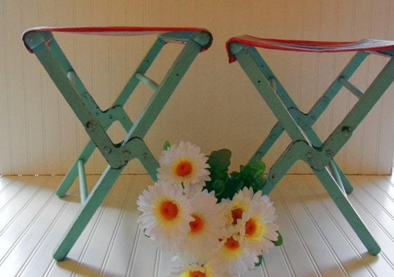 Wood and Canvas Camp Chairs Set - Vintage Handmade - Shabby BoHo Chic