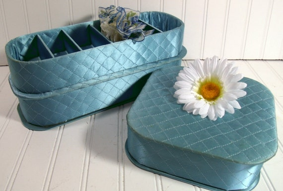 Aqua Blue Satin Quilted Lingerie Boxes - Matching Set of 3 - Vintage 1950s - Vanity Luxury Trio Collection - Shabby Chic