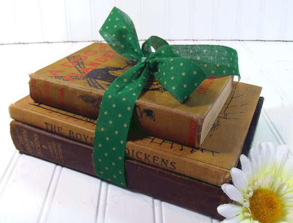 Set of 3 Dickensian Books - Vintage Dickens and Ouida - 10 Full Color Plate Illustrations