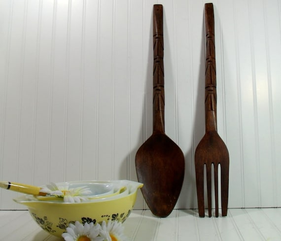 oversized wooden spoon and fork set vintage boho by divineorders. Black Bedroom Furniture Sets. Home Design Ideas