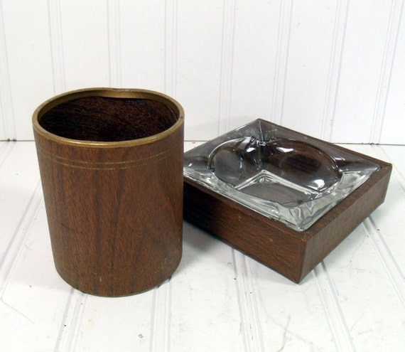Brown Woodgrain 3 Piece Desk Set - Vintage 1970s Office Accessories - BoHo Chic Bins for Repurposing