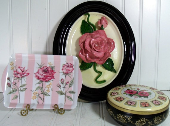 Reserved for Catherine D - Cottage Chic Pink Roses  Floral Small Melamine Tray