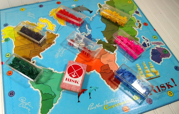 Risk Game - Vintage 1968 Parker Brothers - Excellent Condition Complete - Continental Game Equipment for Repurposing