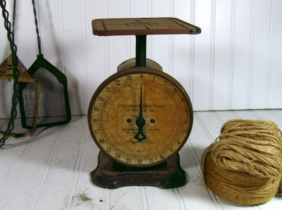 Crusty Rusty Columbia Family Scale - Vintage Patent 1907 - All Original Barn Find Condition