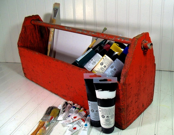 Crusty Rusty Wooden Tool Tote - Vintage Primitive Rustic Box - Handmade Tool Carrier
