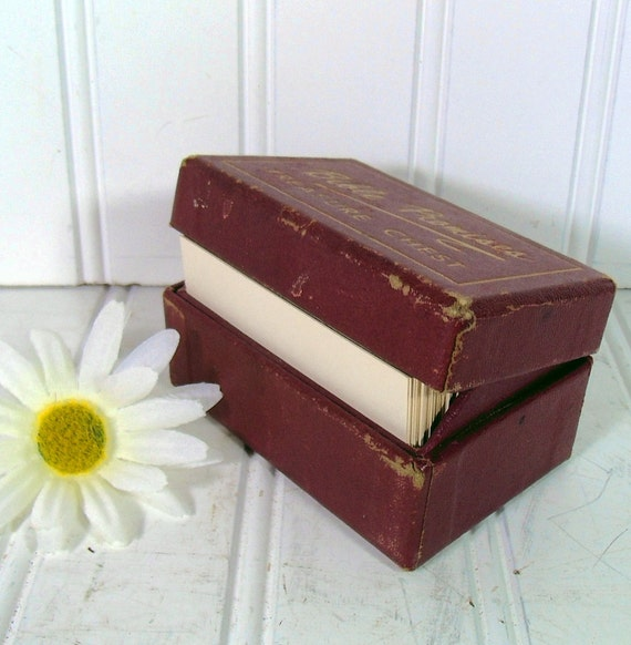 Bible Promises Treasure Chest - Vintage Christian Cards in Small Burgundy Covered Box - For Repurposing