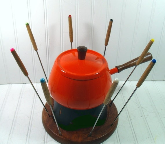 Fondue Party Set - Vintage 1970s Groovy Orange and Wood - BoHo 12 Piece Serving Collection