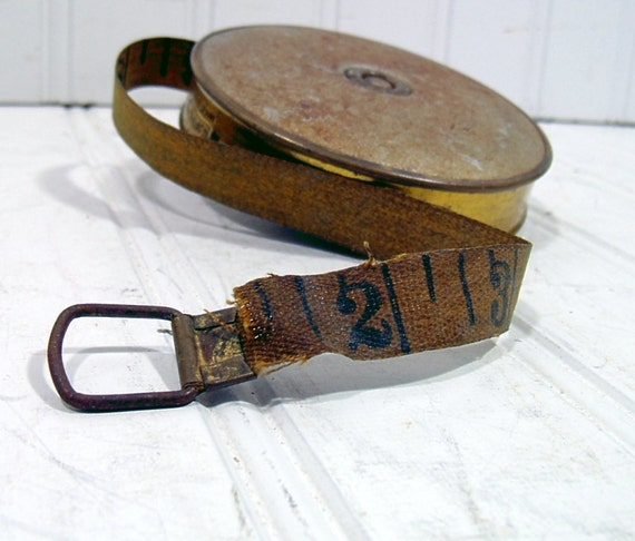Metal Covered Cloth Measuring Tape - Vintage Lufkin Rule Co. - Silver and Brass Case Complete 50 feet