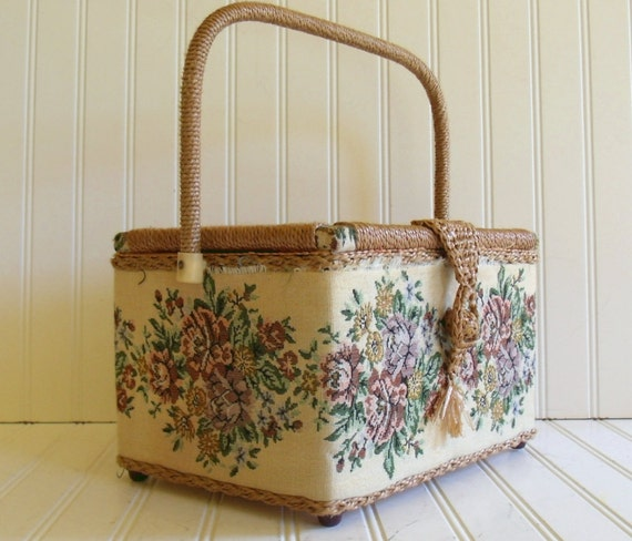 Large Sewing Basket - Vintage Box with Woven Trim - Tapestry Fabric Exterior
