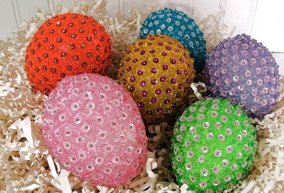 Set of 6 Groovy Beaded Eggs - Vintage Hand Made Bead Work - BoHo Hippie Decor