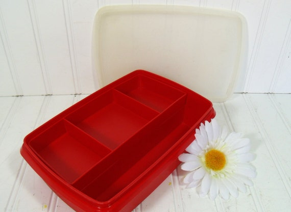 TupperWare Craft Box - Vintage Plastic 3 Pieces - TupperCraft Organizer with Sectional Insert