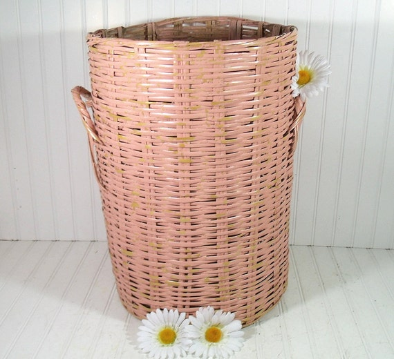 Oversized Pink Wicker Woven Basket - Vintage Dusty Rose Hand Made Hamper - Spacious Shabby Chic Chippy Paint Catch All