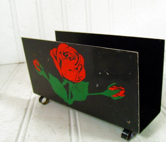 Black Metal Napkin Holder - Vintage Floral ToleWare Rack - All Original Paint & Hand Painted Roses