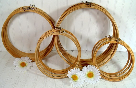 Wooden Round Embroidery Hoops Set of 4 - Vintage Sewing Essentials - Repurpose Craft Frames