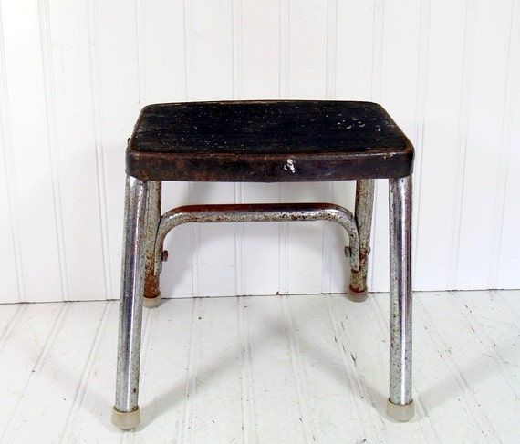 Industrial Mid Century Black Enamel and Chrome Step Stool - Vintage Heavy Duty Handy Booster - Shabby Chic Foot Rest