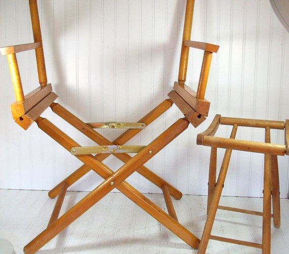 Wooden Furniture Frames Set of 2 - Vintage Directors Chair and Camp Stool - Ready to Personalize and Upcycle
