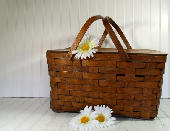 Wooden Woven 2 Piece Picnic Hamper - Vintage Shelton Basket Company - BoHo Shabby Primitive