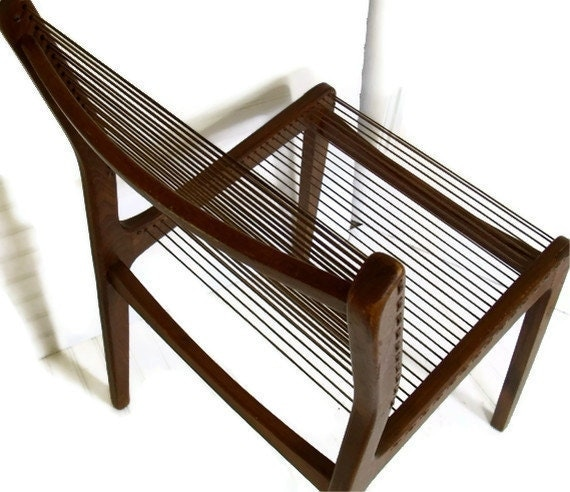 Jacques Guillon Style Cord Chair - Made In Canada - Vintage Mid Century Modern Eames Era Seating