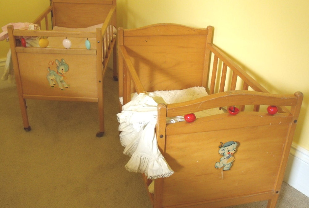 Large Wooden Crib Vintage Doll Bed Thayer Tops By Divineorders