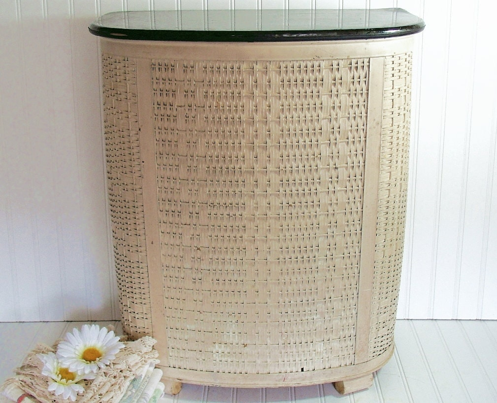 Large Wicker Clothes Hamper Vintage Pearl Wick Original