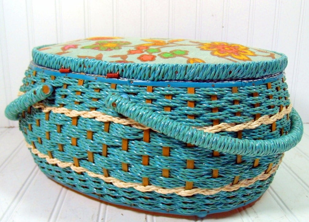 Large Turquoise Wicker Sewing Basket Vintage Oval Aquamarine