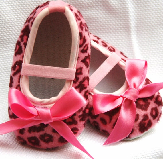 items similar to pink leopard booties baby shoes on etsy