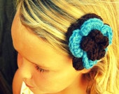 Crochet Flower Hair Clip in Brown and Blue