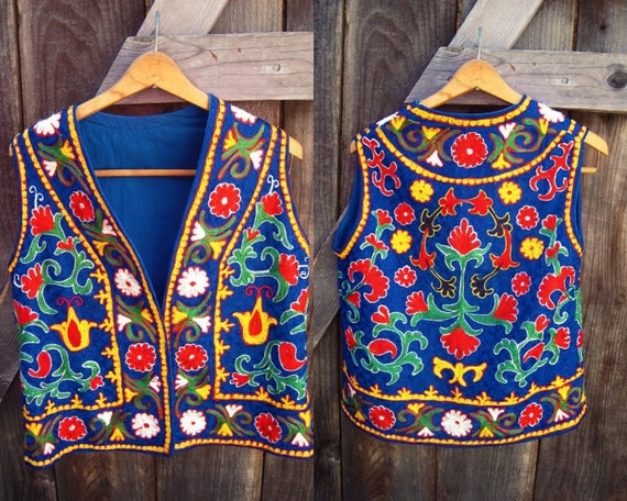 Vintage Hippie Vest - Multicolor Embroidered - Middle Eastern style