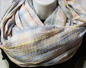 Pastel Plaid Infinity Scarf with Gold Accent