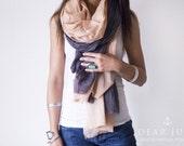 SAND & STORM SET - 2 cotton scarves. Hand dyed. Oversized, lightweight wrap, shawl. Fashion, women accessories. Valentine's gift.