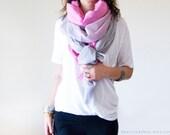 SEA PINK & GREY set - 2 cotton scarves. Hand dyed. Oversized, lightweight wrap, shawl. Fashion, women accessories. Valentine's gift.