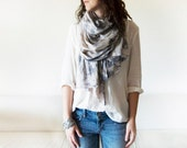 CLOUD STORM - tie dyed cotton scarf. Hand dyed. Oversized, lightweight wrap, shawl. Fashion, women accessories. Valentine's gift.
