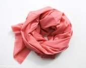 CORAL - hand dyed cotton scarf. Oversized, lightweight wrap, shawl. Fashion, women accessories. Valentine's gift.