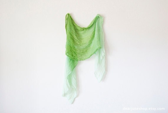 OMBRE GREEN SCARF- hand dyed cotton. lightweight wrap, shawl. Fashion, women accessories. Ombre summer trend