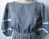70s 80s Vertical Striped Gray and White Puff Sleeves Dress